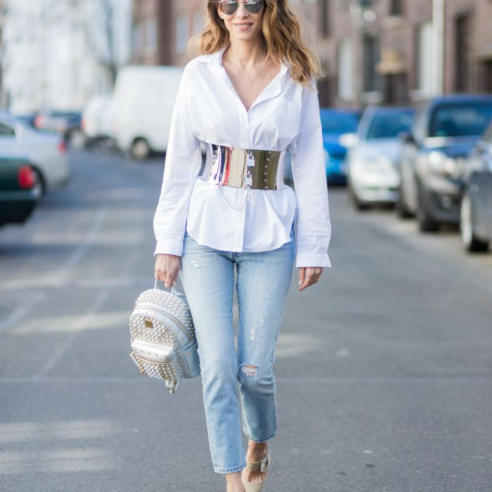 Street style white shirt and straight leg jeans