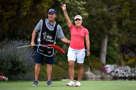 Nasa Hatoka of Japan acknowledges the gallery after winning the Kia Classic at the Aviara Golf Club on March 31, 2019 in Carlsbad, California.