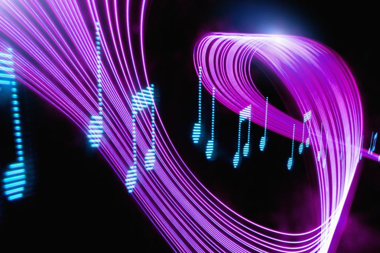 Musical notes with psychedelic lights