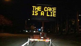the cake is a lie sign