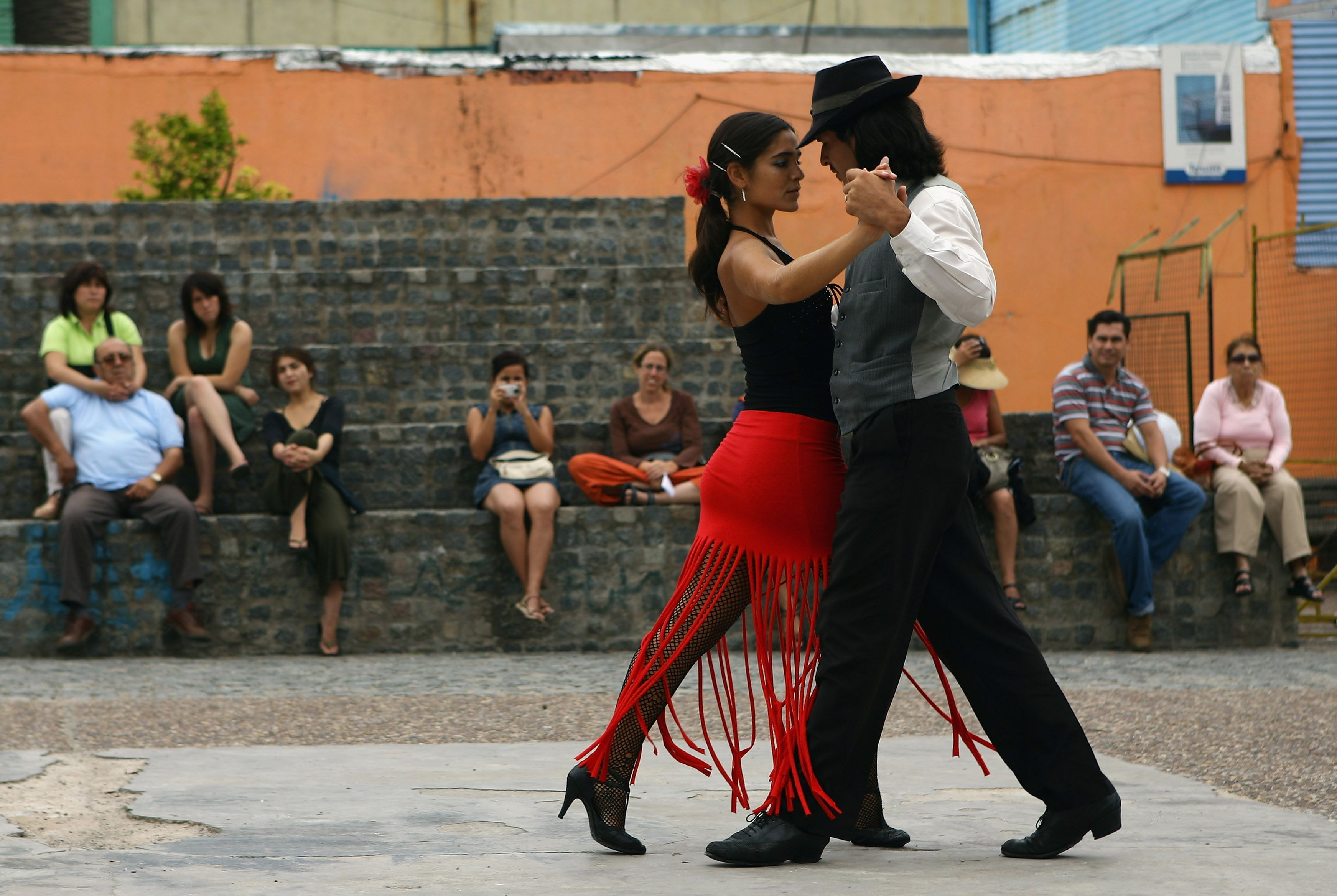 Two people dancing the tango.