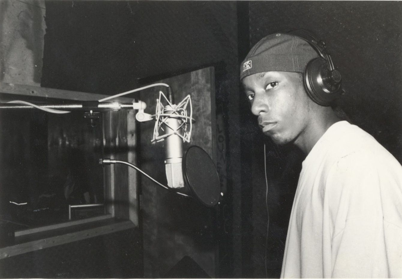 Big L in a recording studio