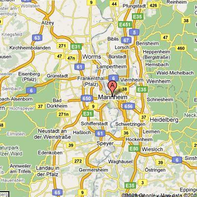 map location of Mannheim