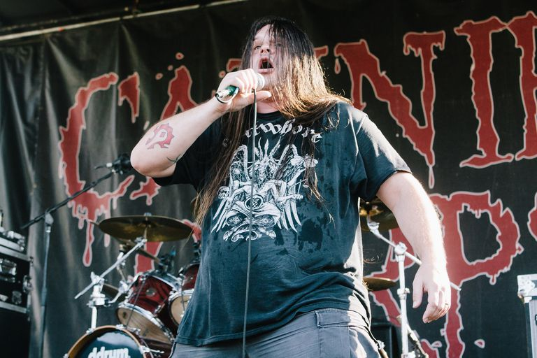 Cannibal Corpse playing at a music festival