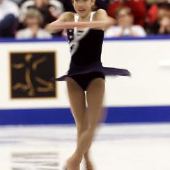 Fumie Suguri of Japan doing a back spin
