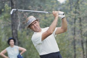 Sam Snead practicing at Augusta National prior to the 1965 Masters