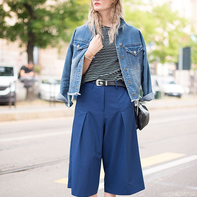 Street style jean jacket and culottes
