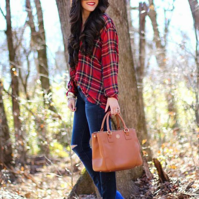 Woman in plaid shirt and jeans for fall fashion