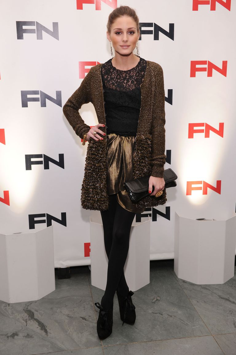 295cf582c8b Olivia Palmero wearing a textured cardigan and dress with tights.