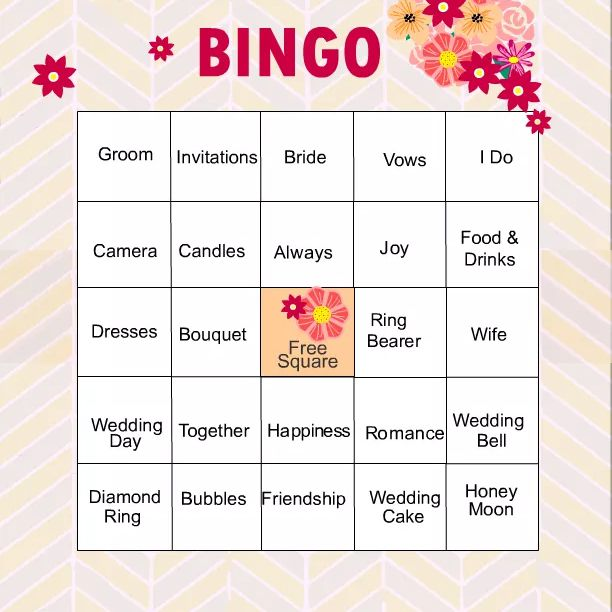 A bridal shower bingo card in pink, peach, and yellow