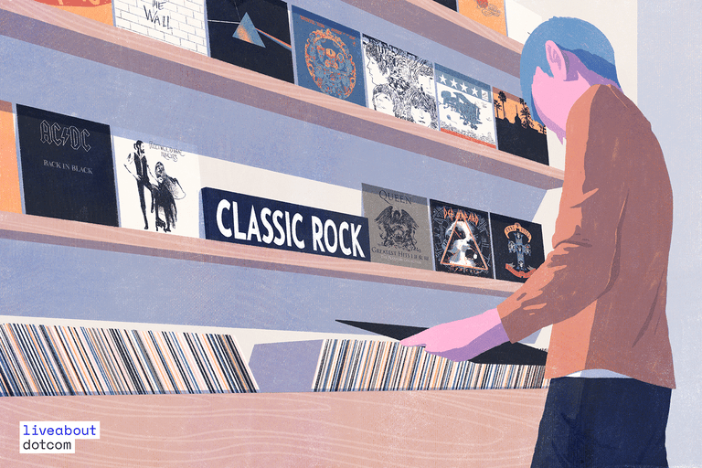Man browsing classic rock records