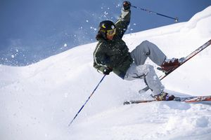 A skier skiing