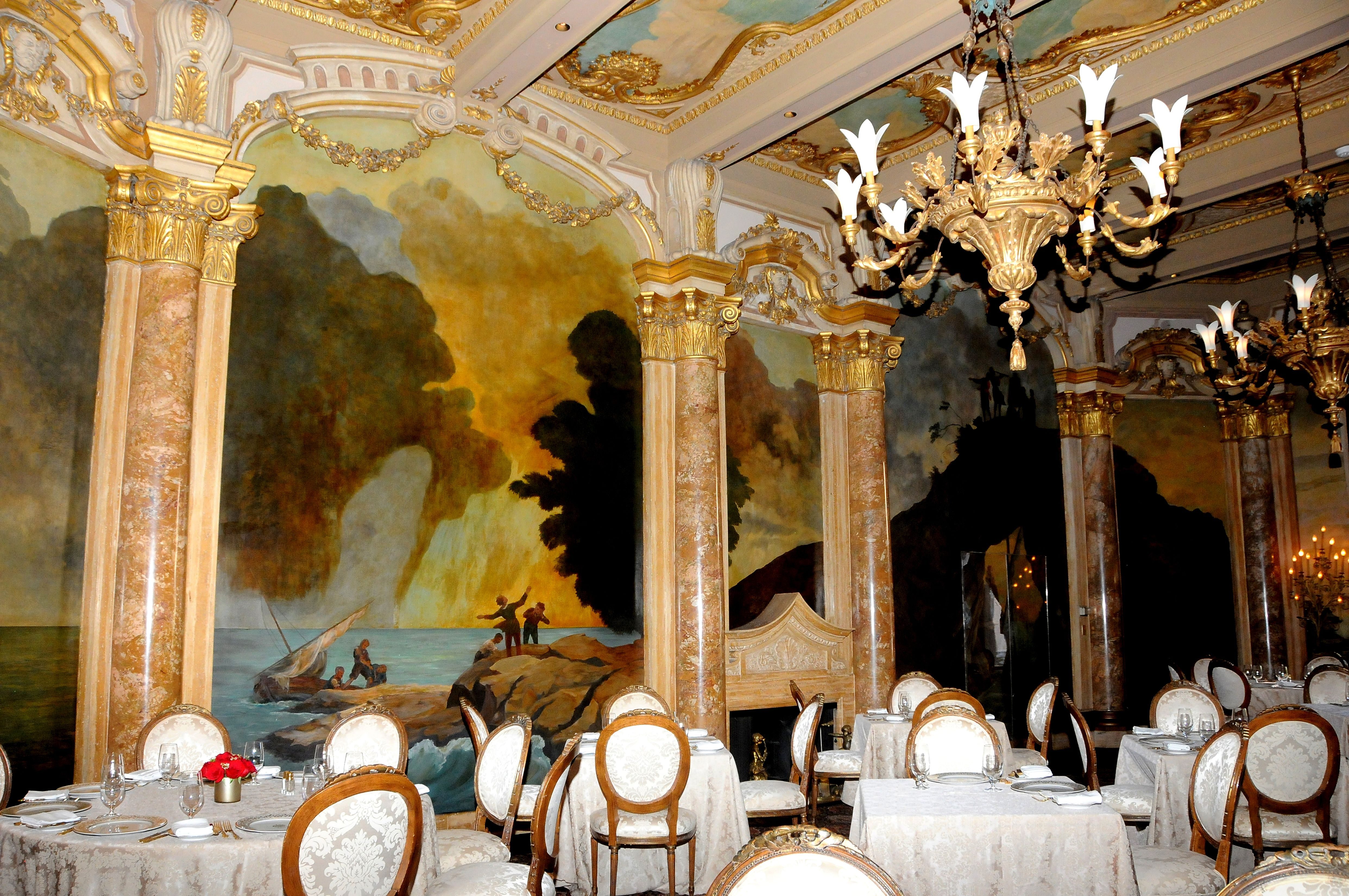 Interior view of a dining room at Mar-a-Lago