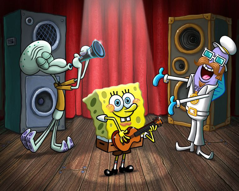 SpongeBob SquarePants playing on stage
