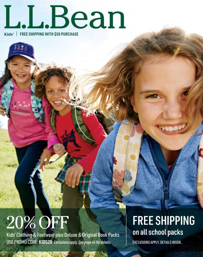 A group of girls wearing backpacks on the cover of the L.L Bean Kids catalog