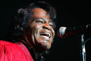 Musician James Brown performs on stage