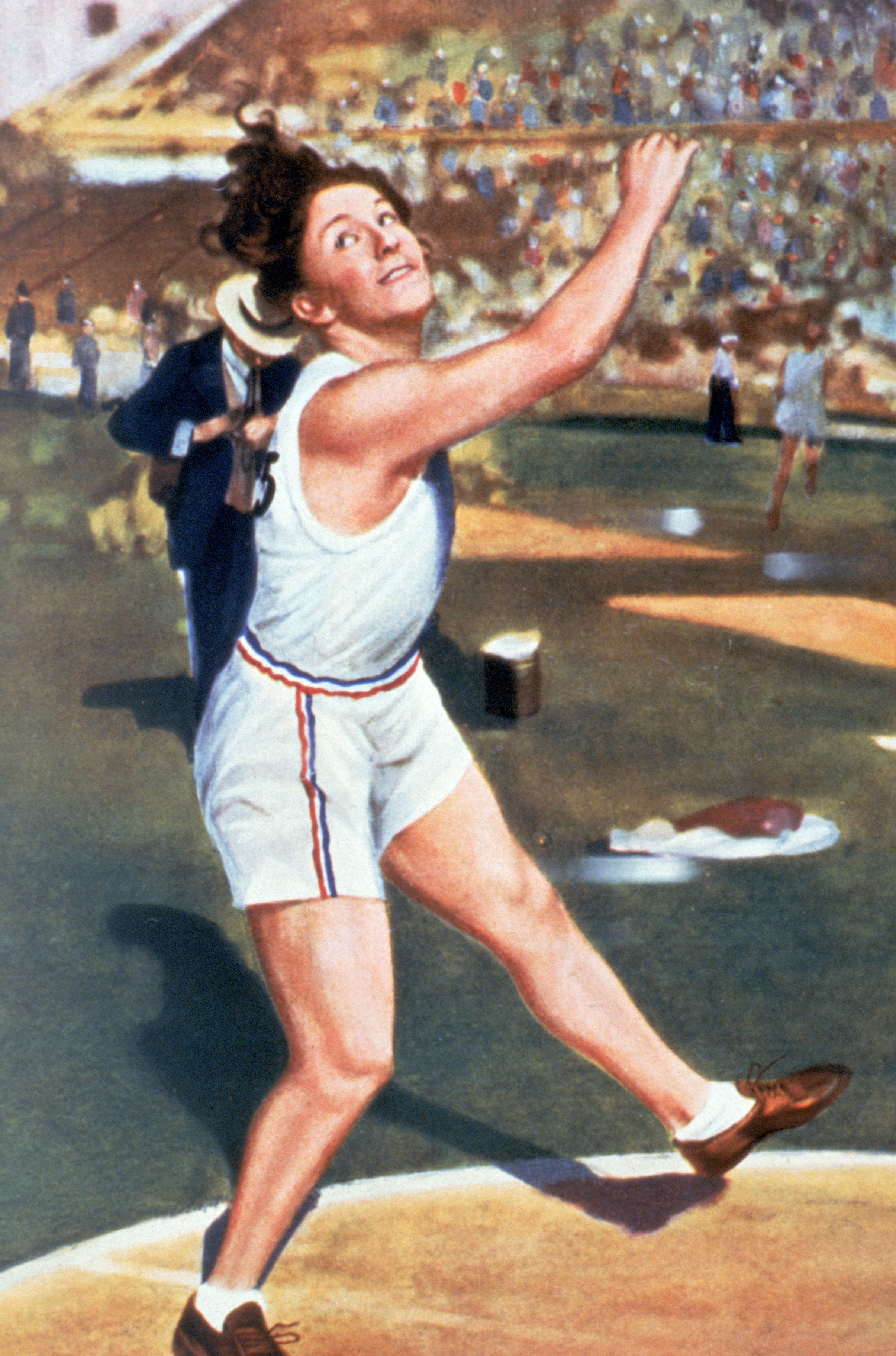 A depiction of Lillian Copeland competing at the 1932 Olympics.