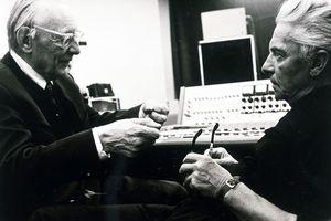 Carl Orff and Herbert von Karajan in recording studio