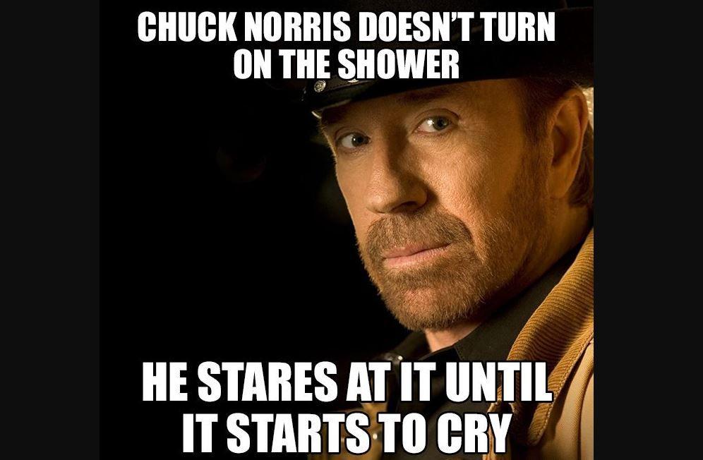 chuck norris shower meme