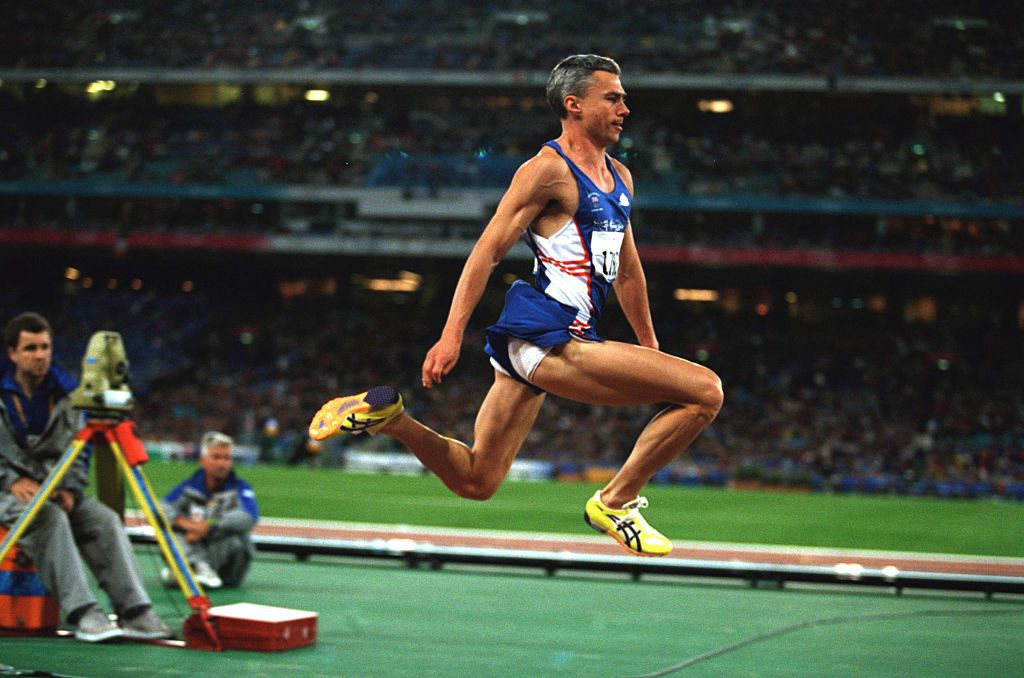 Jonathan Edwards from Great Britain during the men's triple jump of the 2000 Olympics