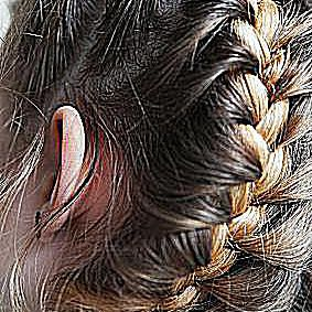 photo of a french braid when scuba diving