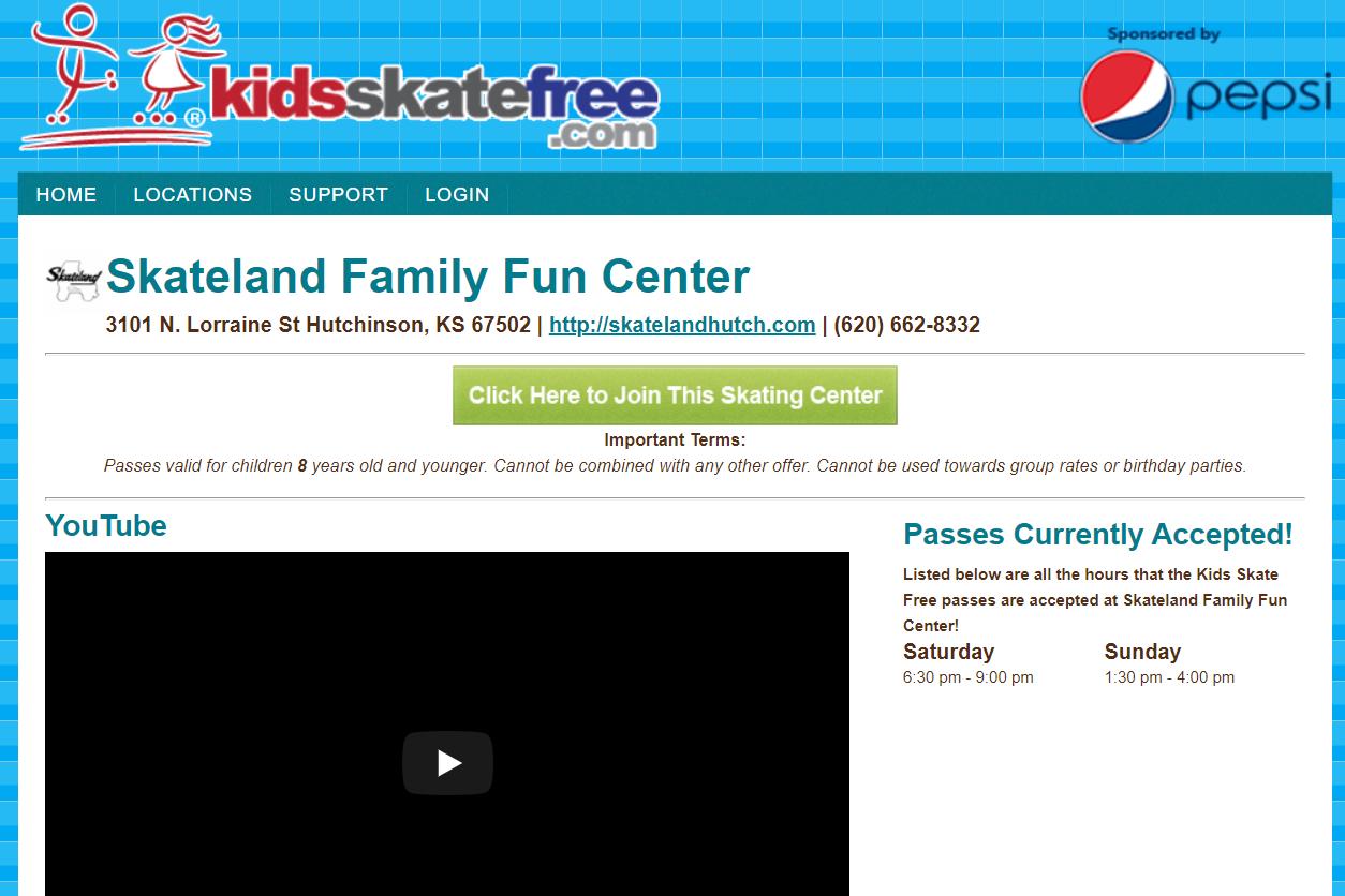 Kidsskatefree.com Skateland Family Fun Center details