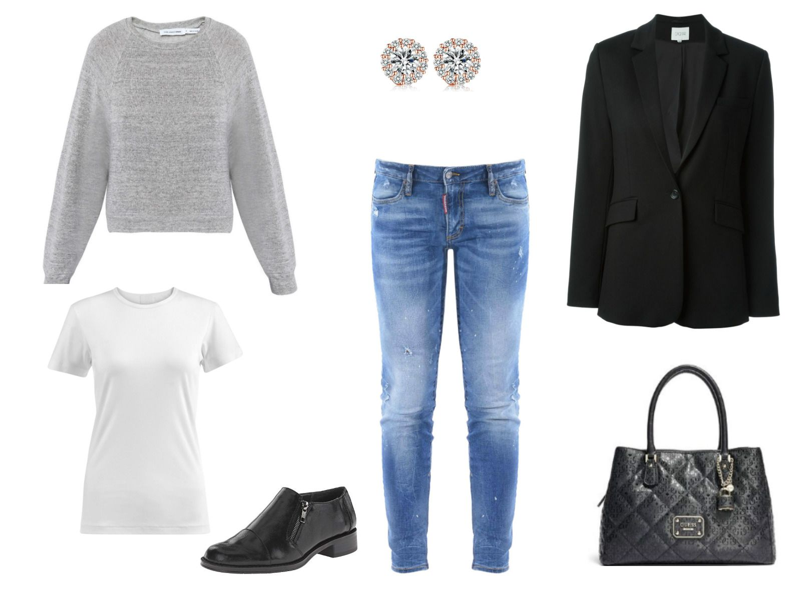 Outfit idea - cropped jeans and a black blazer