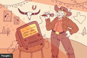 Illustration of a cowboy singing along with a karaoke machine
