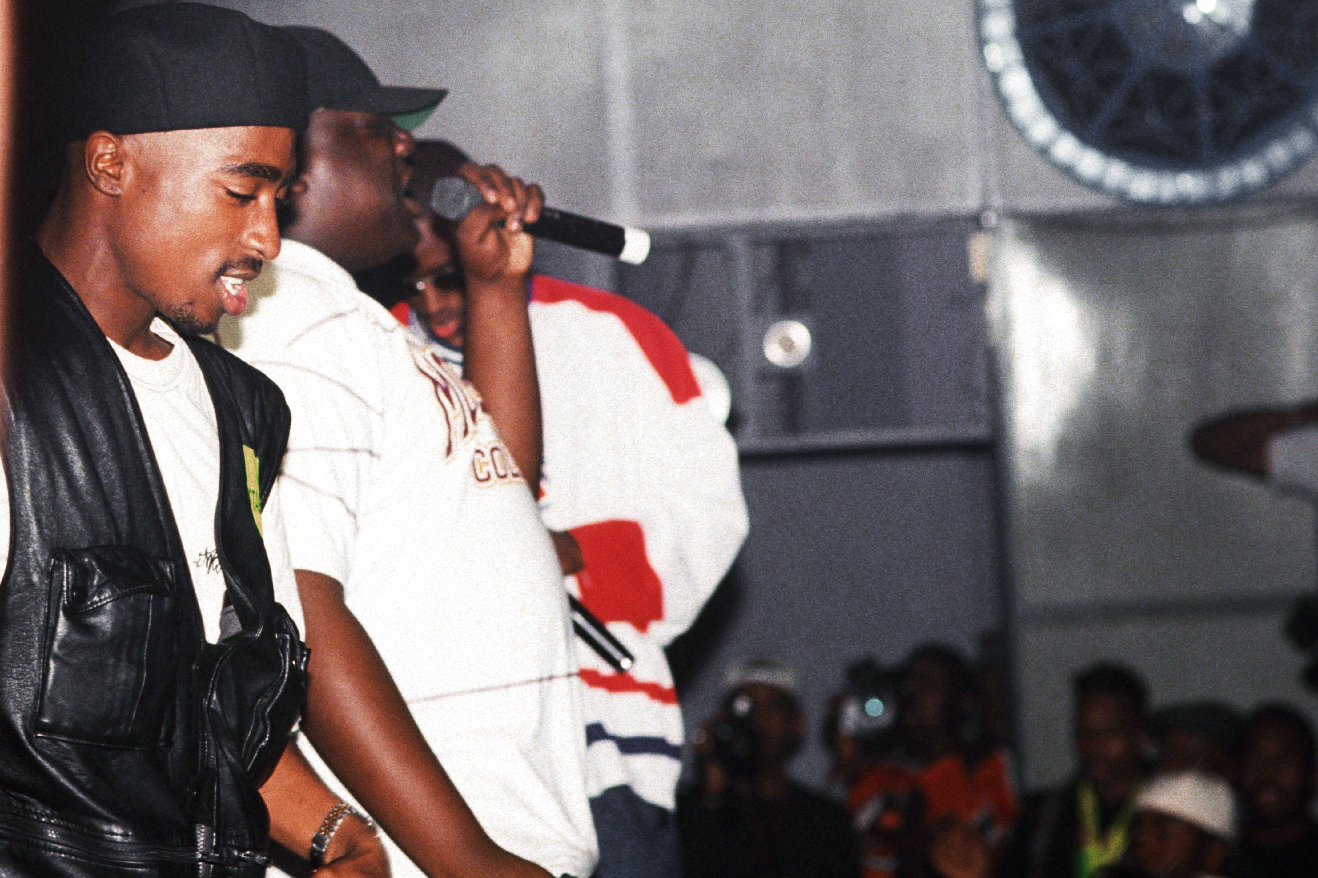 2Pac, Biggie, and Diddy onstage at New York City's Palladium in 1993