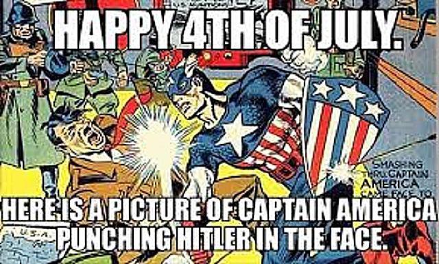 A meme of Captain America punching Hitler