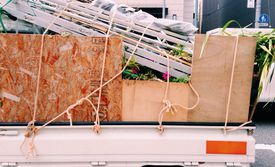 Semi-truck loaded with household stuff
