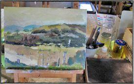 Painting of Autumn Vineyards