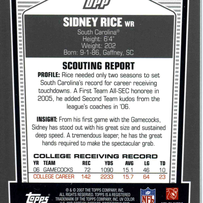sidney rice card