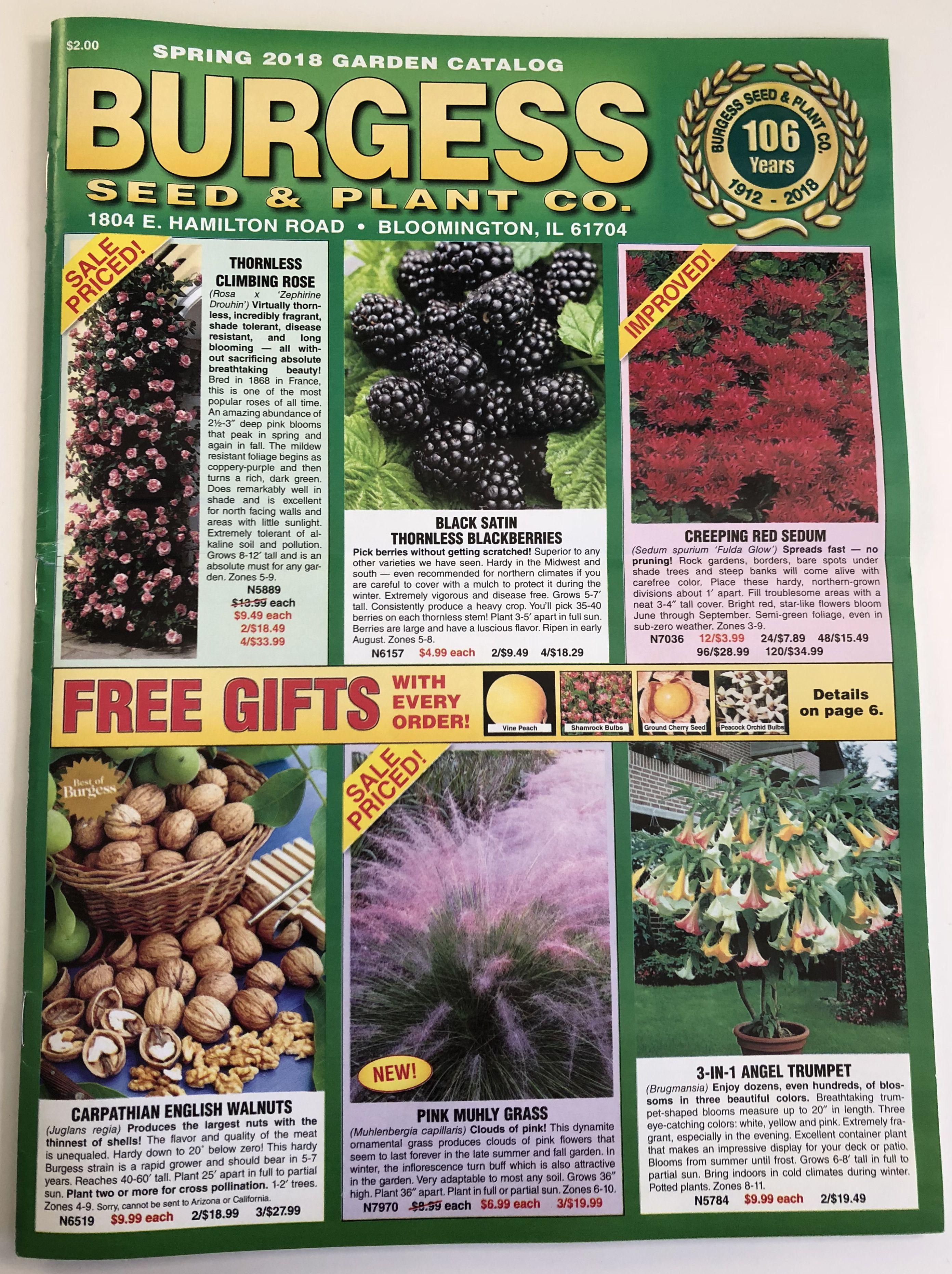 The 2018 Burgess seed catalog