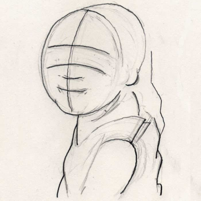 sketching the face - roughing in the face structure