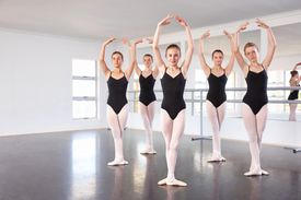 Girls in a ballet dance class
