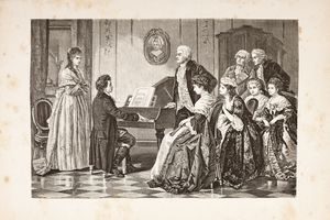 Steel engraving of composer Mozart and Beethoven