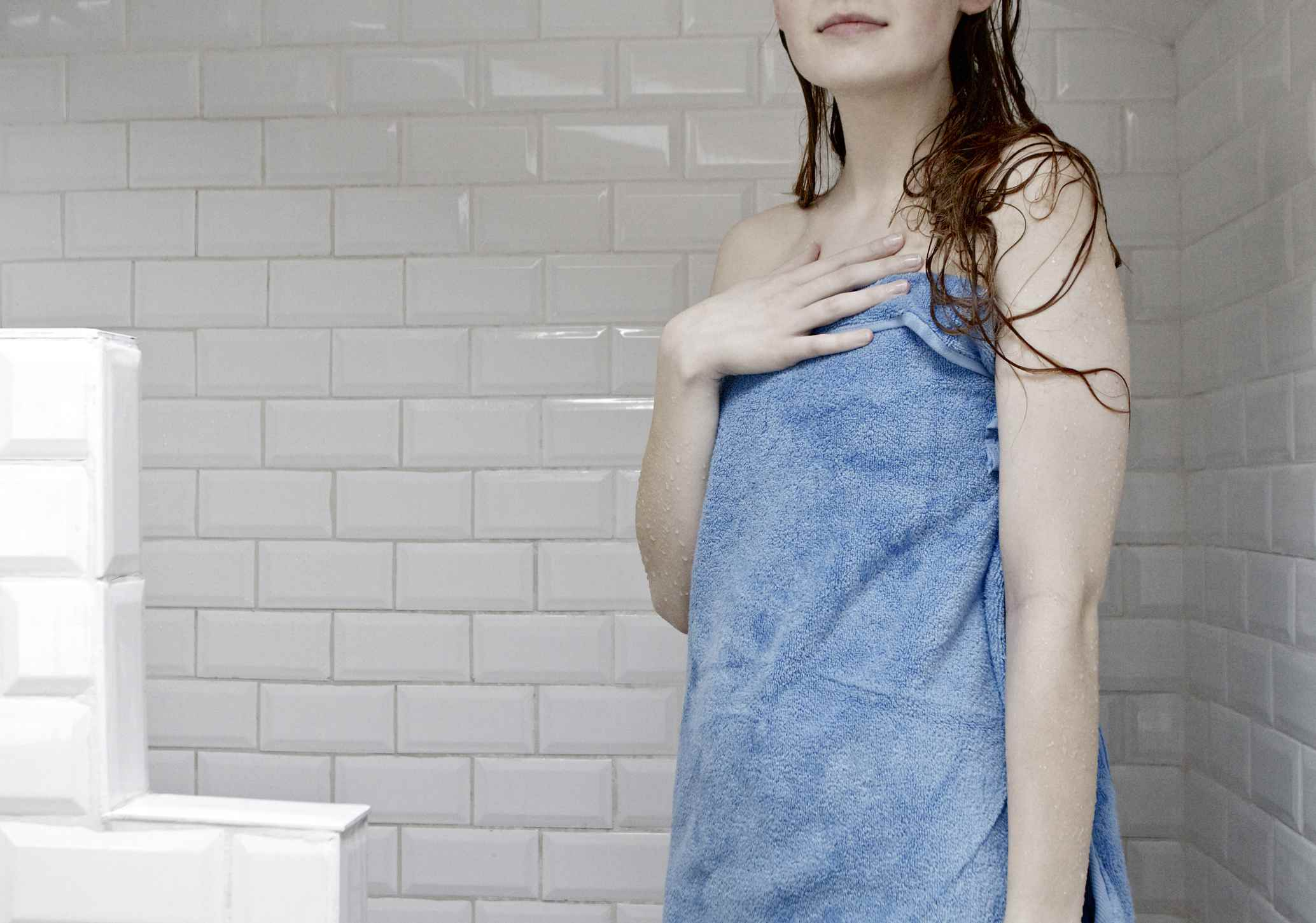 Woman in a towel from shower
