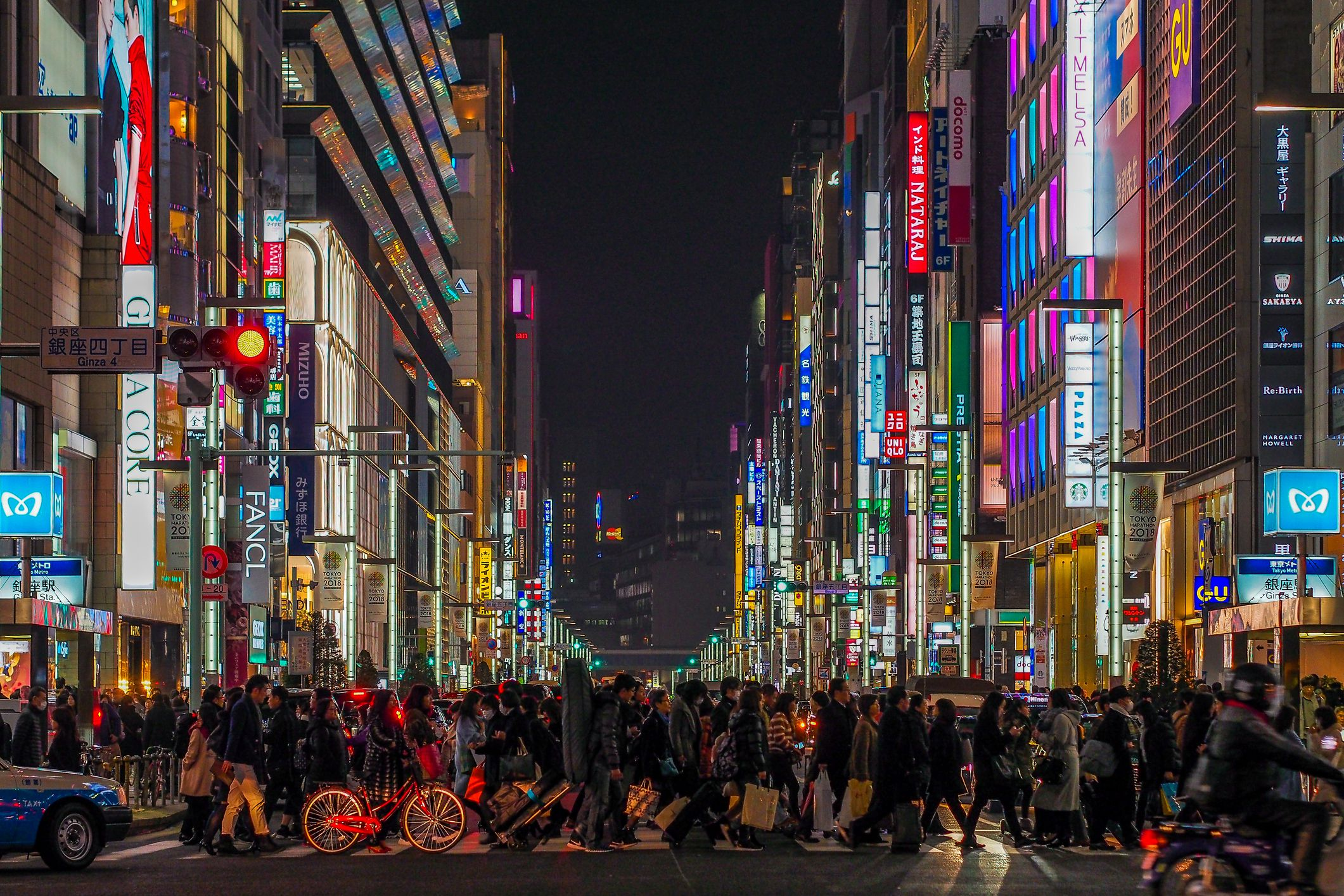 Ginza Avenues Lined with Shops of Expensive Brands in the Heart of Tokyo, Japan