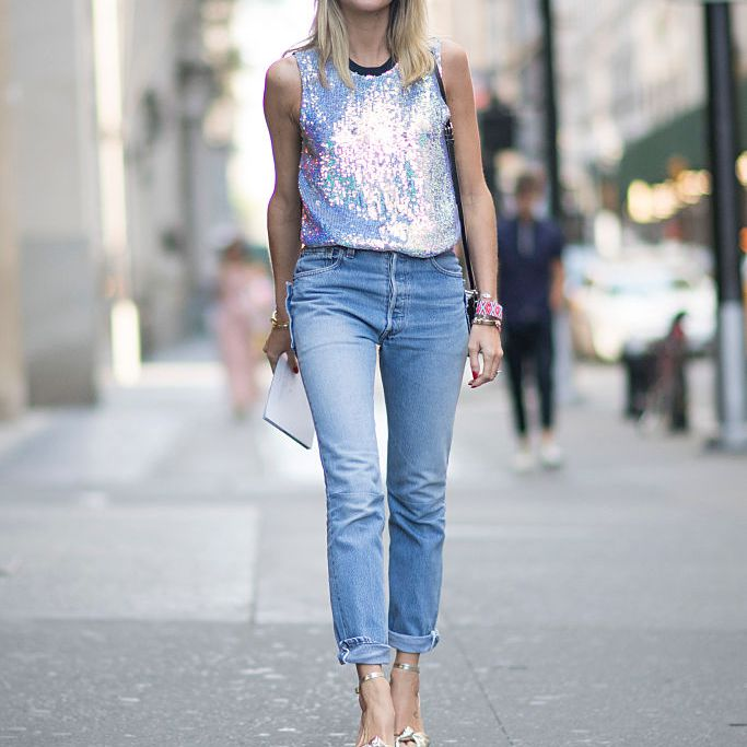 Street style silver top and jeans