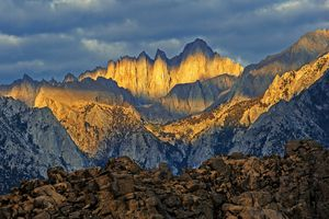 Mount Whitney towers above the east side of the rugged Sierra Nevada range in California.