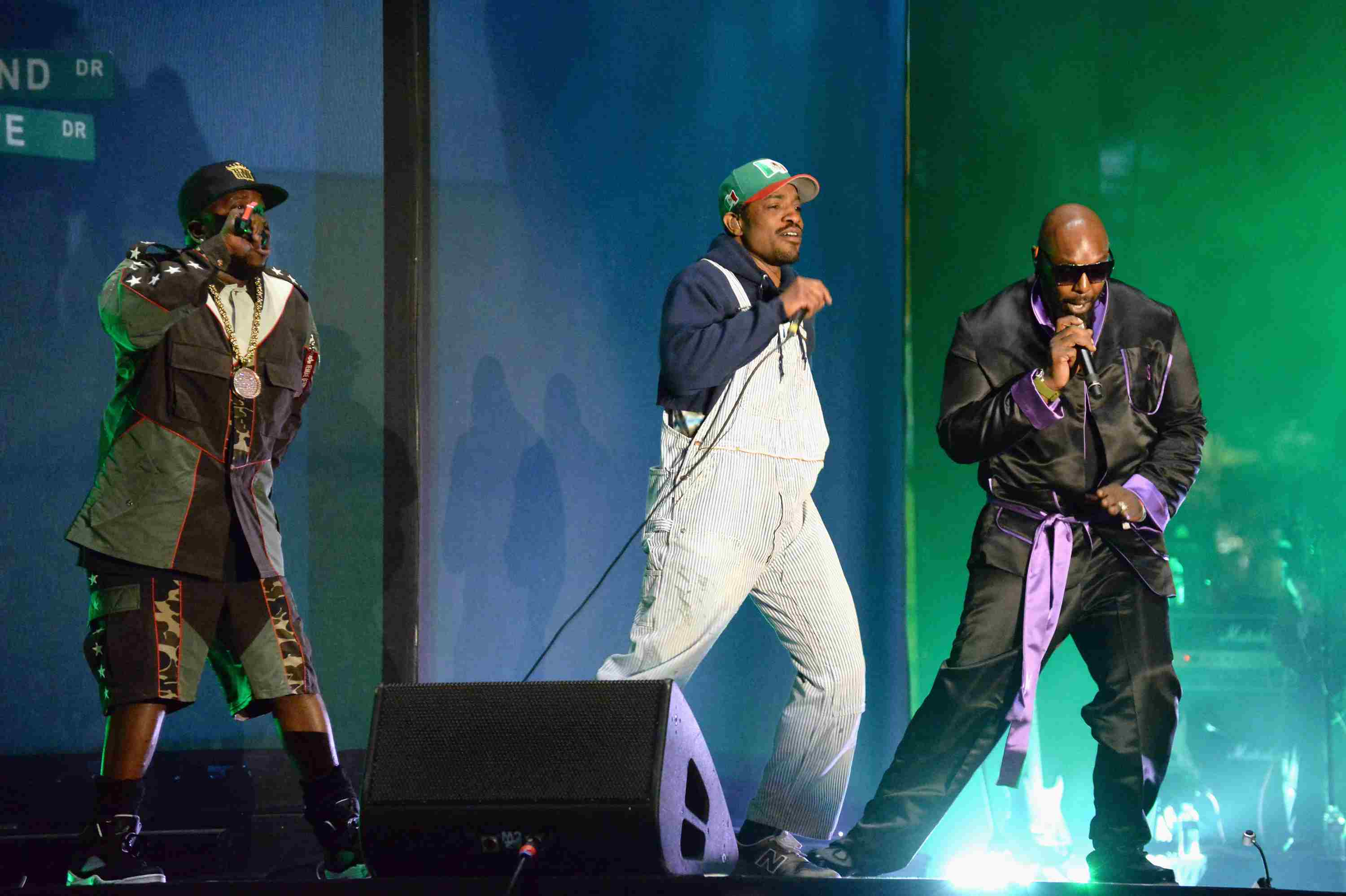 Big Boi and Andre 3000 of Outkast perform onstage with Sleepy Brown