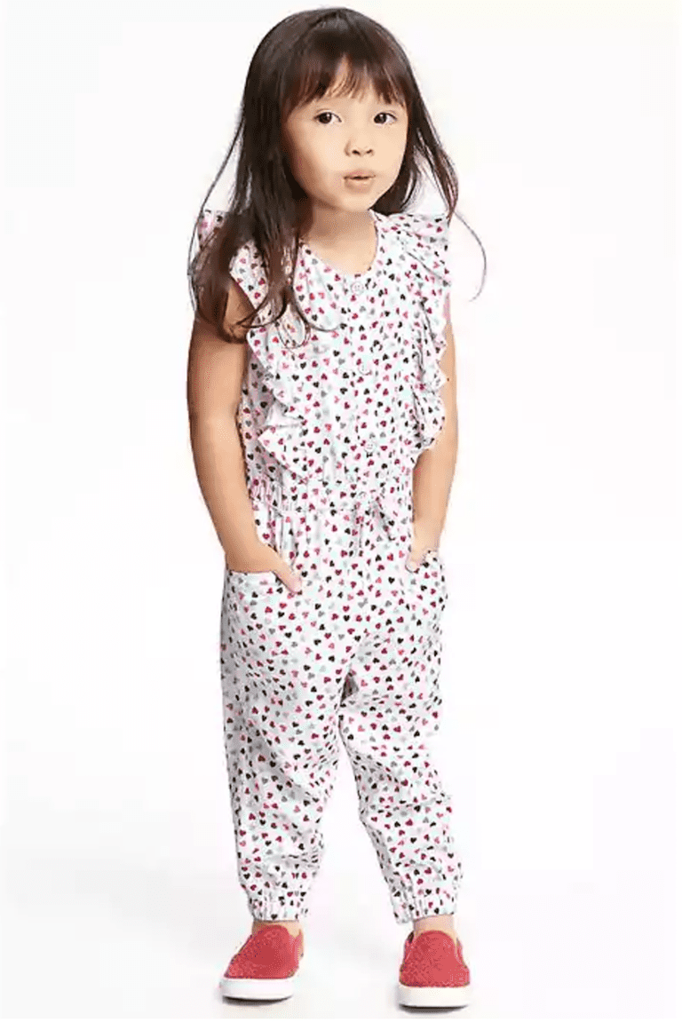 41622357e1ea 1. Old Navy Patterned Ruffle-Trim Hearts Romper in Tiny Hearts for Toddler