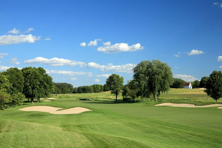 The 490 yards par 4, 1st hole at Hazeltine National Golf Club
