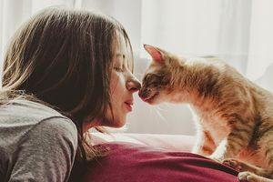 woman nose-to-nose with cat