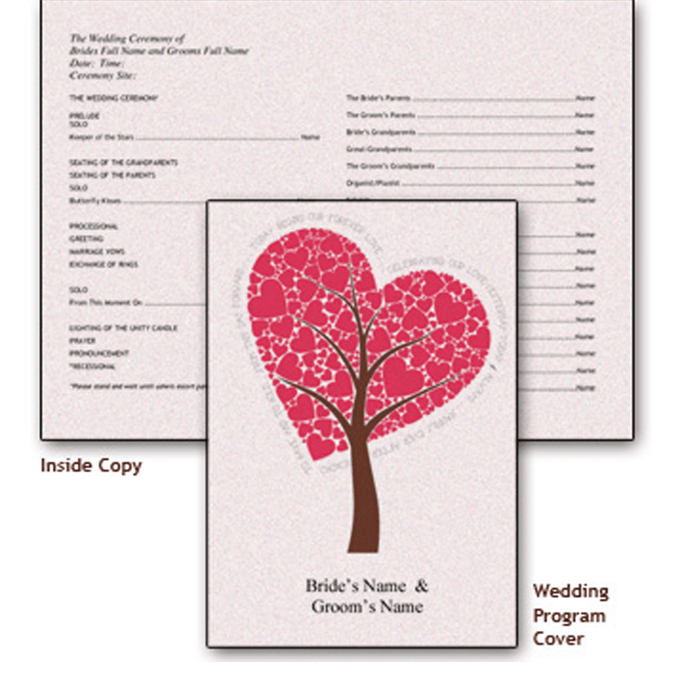 Picture of a free wedding program template with a heart