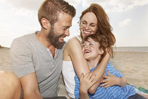 Happy Family on the Beach, Portrait