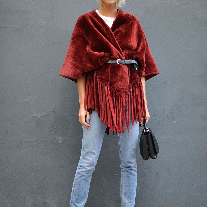 Jeans and poncho
