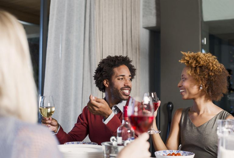 Couple at a dinner party