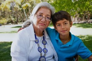 Hispanic grandmother and her grandson, portrait